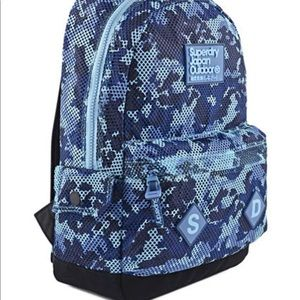 SUPERDRY JAPAN OUTDOOR BACKPACK RARE BLUE CAMO